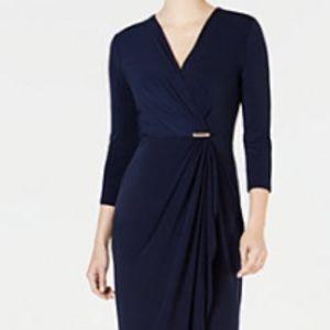 Navy Blue Faux-Wrap Dress - Large